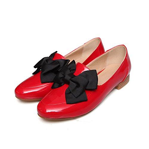 VogueZone009 Damen Rein Lackleder Niedriger Absatz Ziehen Auf Rund Zehe Pumps Schuhe Rot