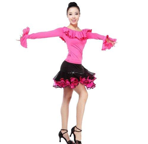 Damen Blusen und rock zweiteilige R¨¹schen Saum Faltenrock Latin tanzenkleid Rosa