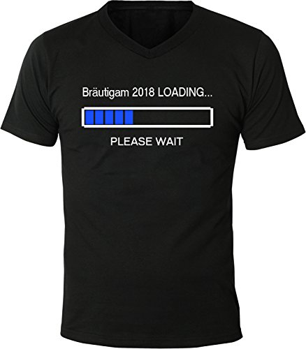 Mister Merchandise Herren Men V-Ausschnitt T-Shirt Bräutigam 2018 Loading Tee Shirt Neck bedruckt Schwarz