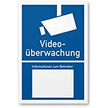 Videoüberwachung Schild gemäß DIN 33450 (blau, 20 x 30cm), Warnhinweis, Hinweisschild videoüberwacht - Infozeichen mit Informationen zum Betreiber, Hinweis auf Videoüberwachung - Datenschutz BDSG