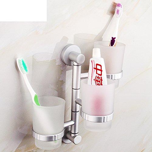 porte-gobelets Espace d'aluminium Salle de bains Activités Toothbrush porte-gobelets Mouthwash porte brosse à dents rotative