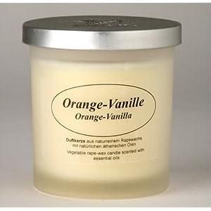Raps-Wachs-Kerze im Glas, Orange/Vanille