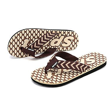 Slippers & amp da uomo;Comfort PU Estate Outdoor piatto Heel Nero Blu Marrone Walking Sandali sandali US9.5 / EU42 / UK8.5 / CN43
