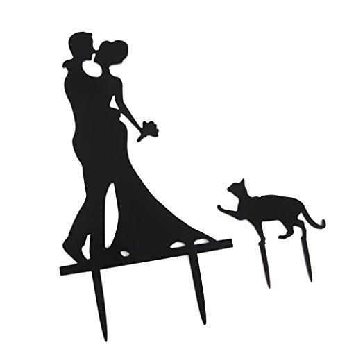 Prettyia Kuchenaufsätze Brautpaar als Tortendeko Kuchendekoration Hochzeitstorte Topper - Braut & Bräutigam mit Katze, 14.5 x 9cm
