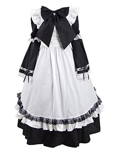 Yeweiwenhua Kaffee Mädchen Kleid Cosplay Maid Halloween Kostüm Kostüme Outfit Karneval (Dienstmädchen Schwarz und Weiß, ()