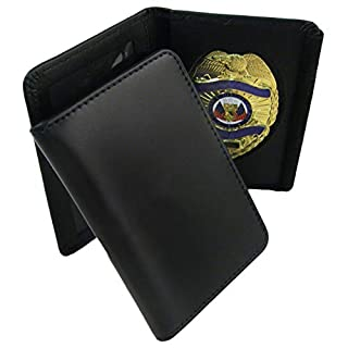 ASR Federal 100% Genuine Leather Universal Private Investigator Imprinted Oblong Badge Holder Wallet Case Black