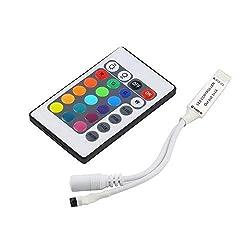 VIPMOON® 24 Key IR Remote Controller Fernbedienung mit Empfänger 2835 5050 RGB LED Streifen Licht, DC 5V-24V Wireless IR-Fernbedienung [Energieklasse A+]