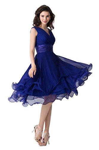 Victory Bridal Einfach Tief V Ausschnitt Abendkleider Ballkleider Brautjungfernkleider kurzes Chiffon-42 Royalblau (A-linie Abendkleid Chiffon)