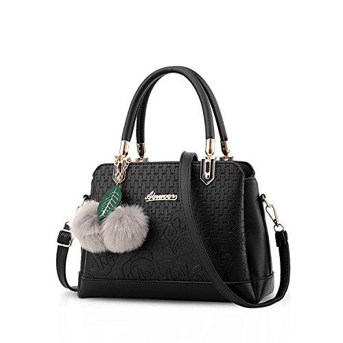 NICOLE & DORIS Damen Handtasche Top-Griffe Tragetasche Schultertasche mit Pompon Stilvolle Taschen für Damen