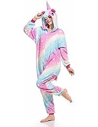 fd9d2c95b7 Süßes Einhorn Overalls Jumpsuits Pyjama Fleece Nachtwäsche Schlaflosigkeit  Halloween Weihnachten Karneval Party Cosplay Kostüme für Unisex