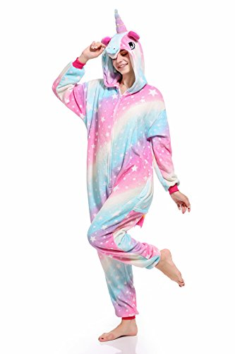 Süßes Einhorn Overalls Jumpsuits Pyjama Fleece Nachtwäsche Schlaflosigkeit Halloween Weihnachten Karneval Party Cosplay Kostüme für Unisex Kinder und Erwachsene (XL, Sky)