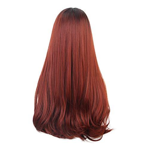 Afro Kostüm Asiatisches - Dkings Langes lockiges Haar Perücken für Frauen mit Haar Bang, Hohe Qualität Sexy Black Red Perücke Partei Synthetische Mode Perücken
