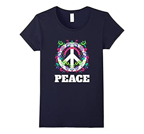 Women's Peace Sign T-Shirt - Peace Symbol Flowers Hippie Tee