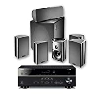 Yamaha Definitive Technology PC600 RX V385 Receiver, Black + DT PRO Cinema 600-6 piece 5.1 Channel Home Theater Speaker System DEFQDVD