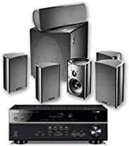 Yamaha Definitive Technology PC600 RX V385 Receiver, Black + DT PRO Cinema 600-6 piece 5.1 Channel Home Theate