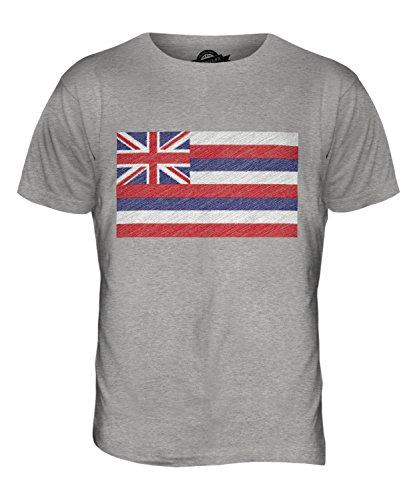 CandyMix Bundesstaat Hawaii Kritzelte Flagge Herren T Shirt Grau Meliert