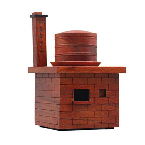 ShXiXJ Puppen HäUser aus Holz Miniatur Ofen Dekoration Sammlung Geschenk Wohnzimmer Weinschrank Ornament (10,6 * 10,6 * 16,8 cm) -