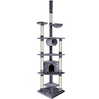 Dibea KB00423 Árbol Rascador Escalador para Gatos, 240-260 cm, Altura Ajustable del Techo Gris Claro