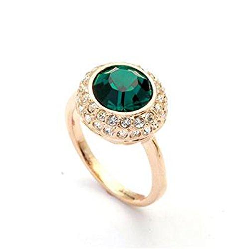 Signore-Signori Swarovski Elements Ktistall 18K Rose Gold Smaragd Kristall-Stein -Finger-Ring Geschenk - Größe R