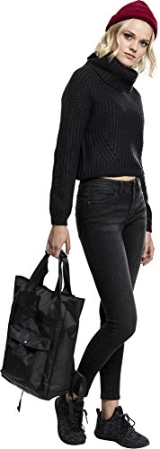 Urban Classics Damen Pullover Ladies Short Turtleneck Sweater Schwarz (Black 7)