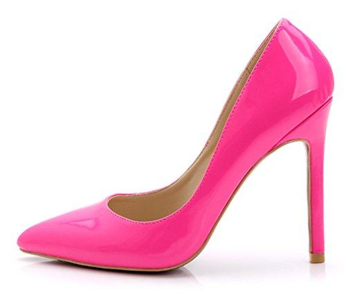 YE Damen Spitze High Heels Stiletto Lackleder Pumps mit Roter Sohle Party Elegant Schuhe Rose