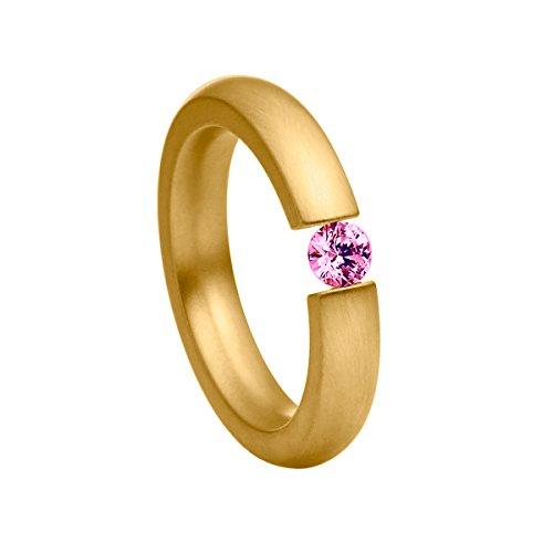 Spannring schmal aus Edelstahl Gold farbend matt Damenring für Frauen mit Swarovski Stein Zirkonia pink im Brillant Schliff 4mm ()