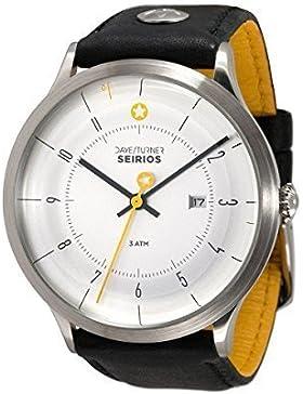 DAYE / TURNER Herren-Armbanduhr Stern SEIRIOS Edelstahlgehäuse Designer-Uhr Leder Schwarz Ziffernblatt Weiss Seiko...