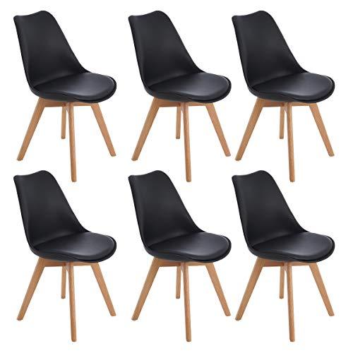 EGGREE 6er Set Esszimmerstühle Skandinavisch Küchenstuhl Stühle Modern mit Massivholz Eiche Bein und Kunstlederkissen, Schwarz (Esszimmer Stuhl, Moderne)