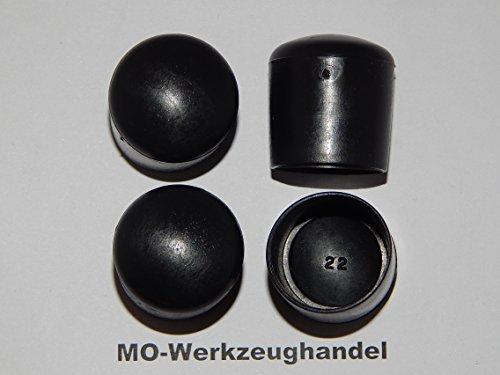 4 pcs silla tapones diámetro interior: 22 mm, color: negro, redondo, tapa deslizante para empotrar, tubo tapones, de plástico