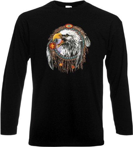 Langarm T-Shirt Dreamcatcher eagle Schwarz