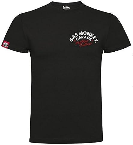 Gas Monkey Garage T-Shirt Red Hot Rod Custom Logo Distressed Black-XXL