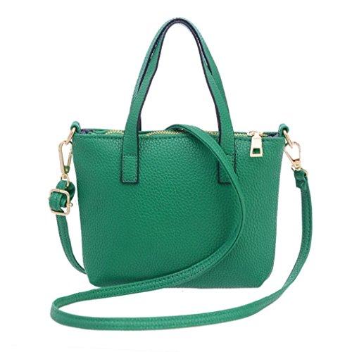 BZLine® Frauen Ledertaschen Handtaschen Umhängetasche Schultertasche Tote Bag Grün