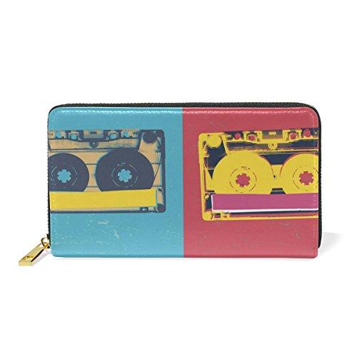 COOSUN Audio Cassette Cuero auténtico de Gran Capacidad Titular de la Tarjeta Monedero Organizador con la Cremallera del Monedero del Embrague para L