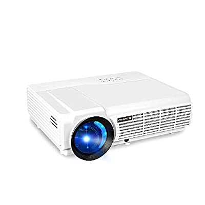 "3800 Lumens Projector, PRAVETTE Projector 200"" Projector Projection Screen for Home Theater, Classroom LED Outdoor Projector"