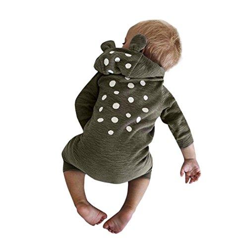 s Neugeboren Jumpsuit Baby Junge Mädchen Hirsch Kapuzenjacke Overall Kleider Outfits 3-24Monat (90, Grau) (Cute Panda-outfit)