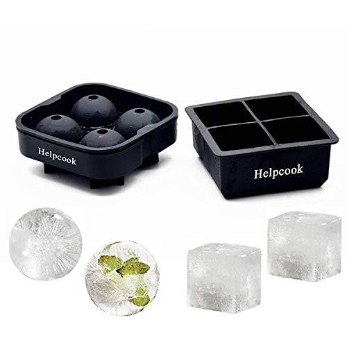James Fashion Eiswürfelformen 2 Stück, Kugel-Eisball-Maker & 6 Hohl-Eiswürfelformen für Whisky, Eis und Cocktails, lebensmittelechtes Silikon, wiederverwendbar und BPA-frei 4+4 1 (Whisky-eis-maker)