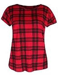 New Women Various Tartan Check Turn Up Short Sleeve T-Shirt