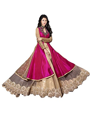 Super Deal Woman\'s Pink Benglory Silk Anarkali Unstitched Free Size XXL Salwar Suits Sets Dress (Indian Clothing)