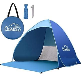 Qomolo Pop Up Tienda De Playa, 2-3 Personas Portátil Tiendas instantáneas Automática Tiendas de Campaña Anti-UV 50+ Protección Solar para Parque Acampar Al Aire Libre Vacaciones en la Playa
