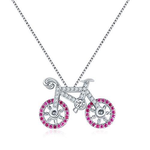 Unbekannt Halskette, 925 Sterling Silber Damen Halskette Fahrrad Anhänger für Mutter Freundin Tochter Schlüsselbein Kette