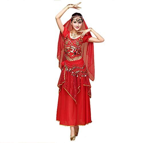 TWIFER Damen Chiffon Bauchtanz Outfit Kostüm Indien Tanzkleidung Top + Rock