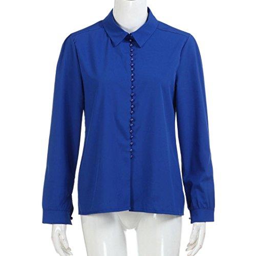 Femmes Solide Chemisier, OverDose Blouse Col V Chemise Oversize à EmpièCements Chemise à Col Festonné Perle Bouton- Blanc Bleu