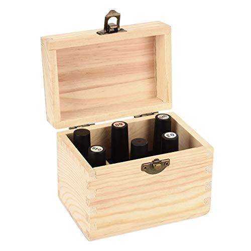 Artibetter 2pcs ätherisches Öl Aufbewahrungsbox Fall aus Holz Veranstalter hält 6 Flaschen zum Tragen und zur Aufbewahrung zu Hause Display