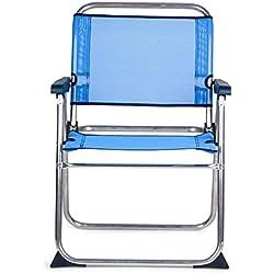 SOLENNY - Silla marinera plegable para playa de aluminio, tejido textiline transpirable en color azul