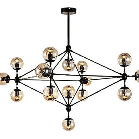 Jiaily Illuminazione Dimmerabile moderno modo lampadario 15 luci montato Semi-Flush verniciatura nera in vetro ambrato per Soggiorno Soppalco luce , 220-240V