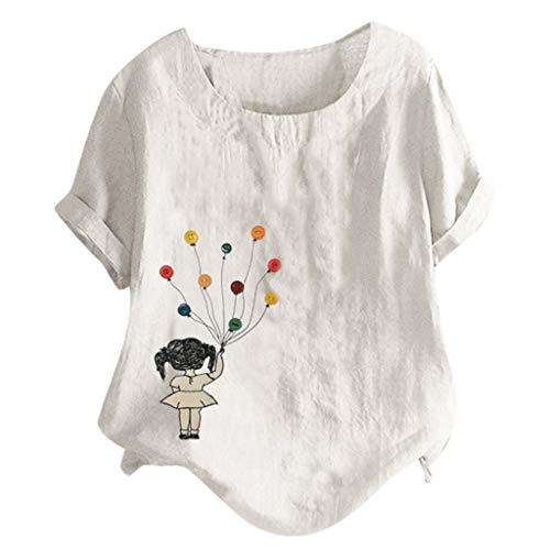 TAMALLU Damen T-Shirts Mode Lässig Bedruckte Knopf Bluse Lose Rundkragen Tunika(Weiß,XL)