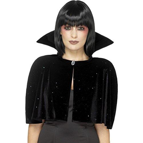 schwarz - Vampir Umhang mit Stehkragen Vampirkostüm Böse Königin Dracula Kostüm Vampirin Dunkle Fee Gewand Verkleidung Halloween Gothic Cape (Bösen Kind Kostüm Mit Flügeln)