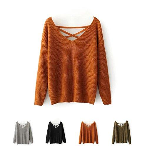 Masterein Pull en tricot sexy Femme Automne Hiver En dentelle Vers le bas Pull creux en V ¨¤ manches courtes Pullover rouille rouge