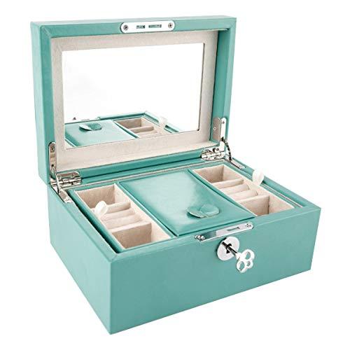 ZOUQILAI Boîte d'emballage de Bijoux Bijoux de Haute qualité Boîte de Pendentif en Jade Bracelet Boucles d'oreilles Bague Collier Boîte-Cadeau avec Miroir et clé