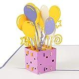 Biglietto di auguri in 3D: regalo con palloncini. Ideale come biglietto d'auguri, regalo di compleanno per donna e per uomo, buono regalo. Realizzato a mano con design creativo, è provvisto di busta e foglio, con carta pop-up.